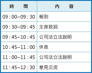 8/17公司法宣導說明會-新竹場會議議程