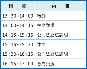 8/13公司法宣導說明會-臺北場會議議程
