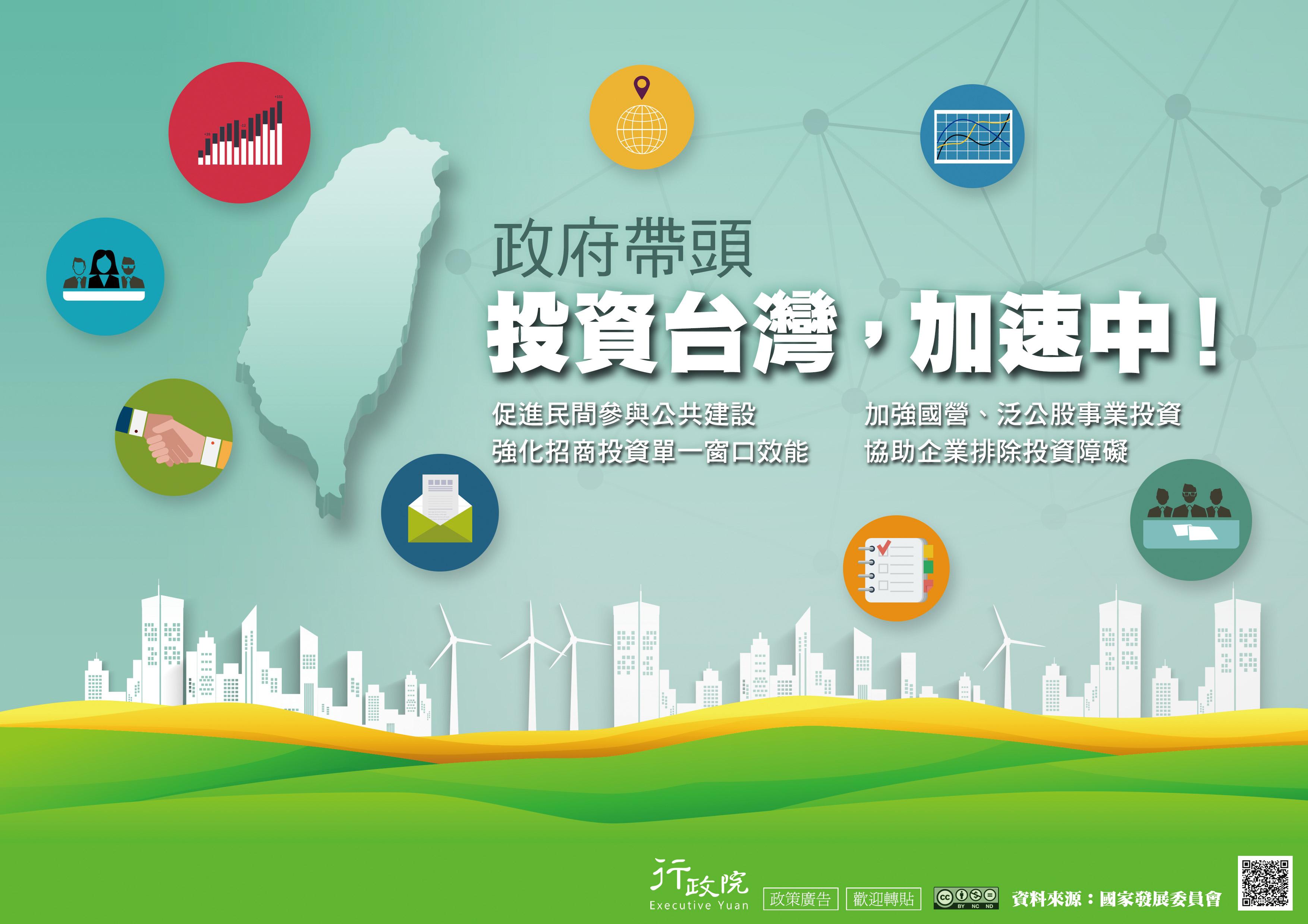 政府帶頭 投資台灣,加速中!促進民間參與公共建設,加強國營、泛公股事業投資,強化招商投資單一窗口效能,協助企業排除投資障礙